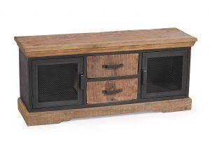 Cosgrove Reclaimed Wood & Metal 2 Drawer TV Unit With Mesh Doors  | Fully Assembled