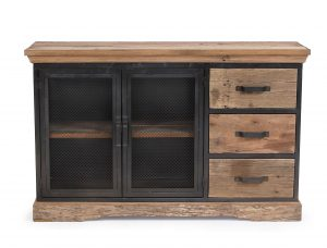 Cosgrove 3 Drawer Reclaimed Wood & Metal Sideboard With Mesh Doors | Fully Assembled