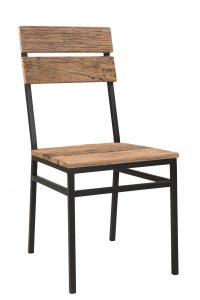 Cosgrove Reclaimed Wood Slat Dining Chair With Metal Legs (Pair)