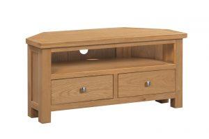 Devonshire Dorset Oak Large Corner TV Unit  | Fully Assembled