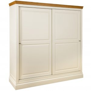 Lundy Painted Ivory With Oak Top  Sliding Double Wardrobe