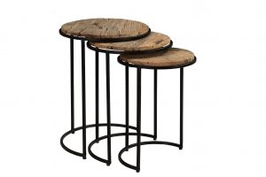 Cosgrove Reclaimed Wood Nest of 3 Round Tables | Fully Assembled