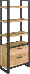 Classic Fusion Industrial Oak Bookcase with Drawers
