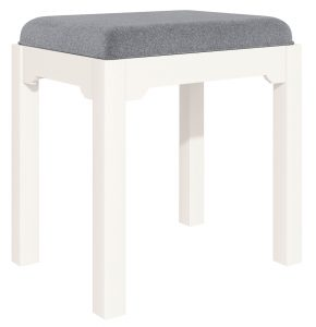 Classic Lily Painted White Dressing Table Stool