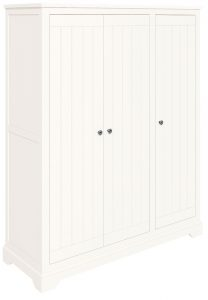 Classic Lily Painted White Triple Full Hanging Wardrobe