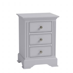 Windermere Moonlight Grey Painted Large 3 Drawer Bedside| Fully Assembled