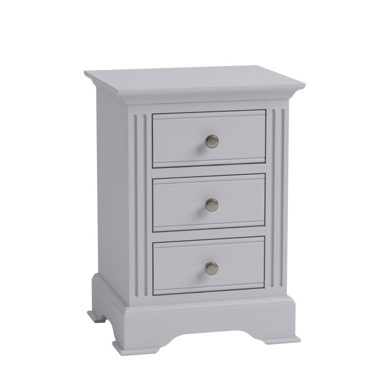 Windermere Moonlight Grey Painted Large 3 Drawer Bedside  Fully Assembled