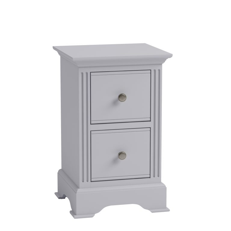 Windermere Moonlight Grey Painted Small 2 Drawer Bedside| Fully Assembled