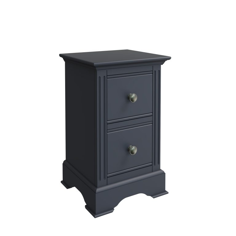 Windermere Midnight Grey Painted Small 2 Drawer Bedside | Fully Assembled