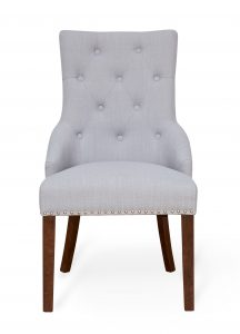 Walnut Accent Narrow Back Upholstered Dining Chair – Grey (Pack Of Two)
