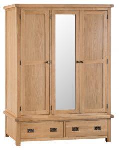 Chester Oak 3 Door Wardrobe with Mirror