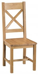 Chester Oak Cross Back Chair with Wooden Seat (Pair)