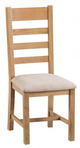 Chester Oak Ladder Back Chair with Fabric Seat Pad (Pair)