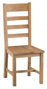 Chester Oak Ladder Back Chair with Wooden Seat (Pair)
