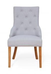 Oak Accent Narrow Back Upholstered Dining Chair – Grey (Pack Of Two)