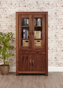 Baumhaus Mayan Walnut Large Glazed Bookcase