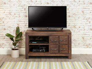 Baumhaus Mayan Walnut Four Drawer Television Cabinet