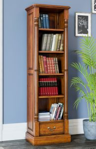 La Reine Mahogany Narrow Alcove Bookcase with Drawer