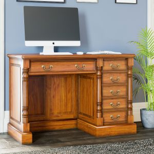 La Reine Mahogany Single Pedestal Computer Desk