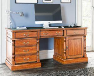 La Reine Mahogany Twin Pedestal Computer Desk