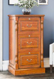 La Reine Mahogany Three Drawer Filing Cabinet