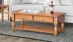 La Reine Mahogany Coffee Table with Drawers