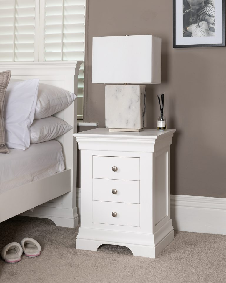 Windsor Painted White 3 Drawer Bedside | Fully Assembled
