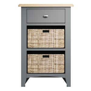 Lincoln Painted Grey 1 Drawer 2 Basket Unit