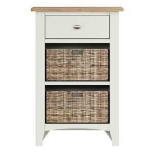 Lincoln Painted White 1 Drawer 2 Basket Unit