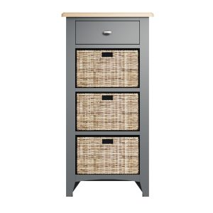 Lincoln Painted Grey 1 Drawer 3 Basket Unit