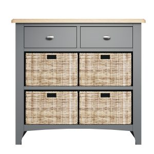 Lincoln Painted Grey 2 Drawer 4 Basket Unit