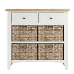 Lincoln Painted White 2 Drawer 4 Basket Unit
