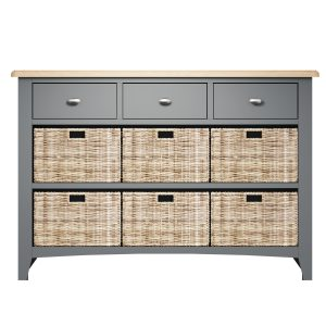 Lincoln Painted Grey 3 Drawer 6 Basket Unit