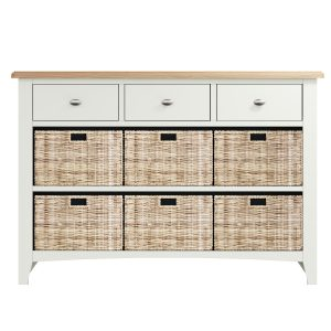 Lincoln Painted White 3 Drawer 6 Basket Unit