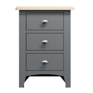 Lincoln Painted Grey 3 Drawer Bedside Cabinet